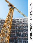 Construction crane on house construction, Engelberg, Ct. Obwalden, Switzerland