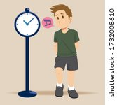 young man waiting for someone... | Shutterstock .eps vector #1732008610