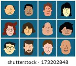group of happy and smiling... | Shutterstock .eps vector #173202848