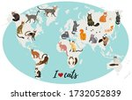 cats map of the world. vector... | Shutterstock .eps vector #1732052839