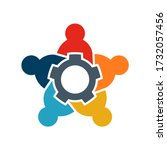 teamwork of five people logo.... | Shutterstock .eps vector #1732057456