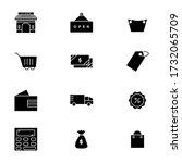 shopping icon set glyph style...
