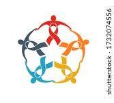 teamwork of five ribbon people... | Shutterstock .eps vector #1732074556