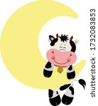 Cute Cow Hanging On Moon In Sky