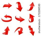 red arrow icon set. vector | Shutterstock .eps vector #173208530