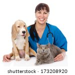 Laughing Veterinarian Hugging...
