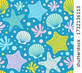 seamless pattern with starfish  ... | Shutterstock .eps vector #1732136113