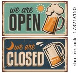 retro tin door signs set for... | Shutterstock .eps vector #173216150