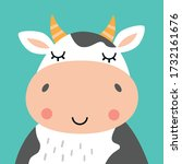 Cute Cow Portrait. Animal Head...