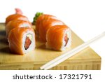 appetizing suhi isolated on the white backgrouund - stock photo
