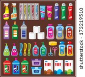 set of household chemicals.... | Shutterstock .eps vector #173219510