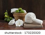 still life with herbal compress ... | Shutterstock . vector #173220320