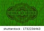 work at home text inside grass... | Shutterstock .eps vector #1732236463