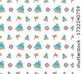 line art summer seamless beach... | Shutterstock . vector #1732240759