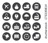 black and white logistics icons ... | Shutterstock .eps vector #173230814