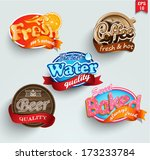 set of stickers of drinks... | Shutterstock .eps vector #173233784