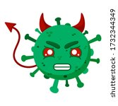 Green Coronavirus With A Horns...