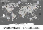 world map animals for child... | Shutterstock . vector #1732363333