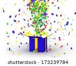 gift box with confetti   Shutterstock . vector #173239784