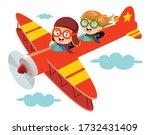 Happy Kid Flying In Airplane