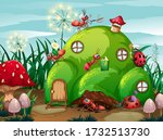 scene with plants and insects...   Shutterstock .eps vector #1732513730