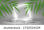 promo banner with podiums and... | Shutterstock .eps vector #1732524239