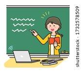 teacher teaching online using a ... | Shutterstock .eps vector #1732578509