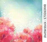 Stock vector shining flowers roses peonies background romantic vector floral summer season beautiful card 173263448