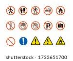 caution prohibited danger... | Shutterstock . vector #1732651700