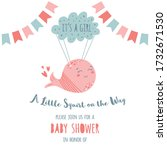 its a girl baby shower... | Shutterstock .eps vector #1732671530