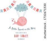 its a girl baby shower... | Shutterstock .eps vector #1732671530