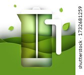 french press with tea and green ... | Shutterstock .eps vector #1732681259