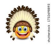 cute native american emoji ... | Shutterstock .eps vector #1732698893