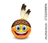 cute native american emoji ... | Shutterstock .eps vector #1732698896