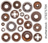 a huge set of rusty metal gears ... | Shutterstock . vector #173271704