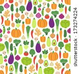 flat vegetables seamless pattern | Shutterstock .eps vector #173274224