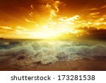 sunset on seychelles beach | Shutterstock . vector #173281538