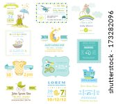set of baby shower and arrival... | Shutterstock .eps vector #173282096