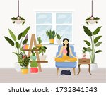 young woman sitting in yoga...   Shutterstock .eps vector #1732841543