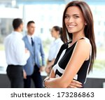 face of beautiful woman on the...   Shutterstock . vector #173286863