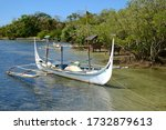 Traditional asian wooden outrigger close up