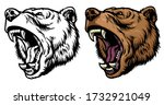 angry roaring grizzly bear head | Shutterstock .eps vector #1732921049