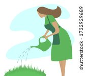 young woman in a green dress... | Shutterstock .eps vector #1732929689