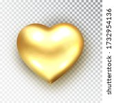 gold heart isolated. realistic  ... | Shutterstock .eps vector #1732954136