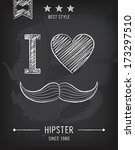 hipster background  mustaches ... | Shutterstock .eps vector #173297510