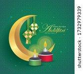 hari raya aidilfitri greeting... | Shutterstock .eps vector #1732979339