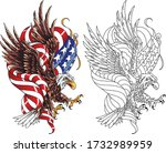 stylized drawing american eagle ... | Shutterstock .eps vector #1732989959