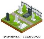 isometric rows of tombstones in ... | Shutterstock .eps vector #1732992920