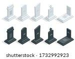 isometric set of tombstones in...   Shutterstock .eps vector #1732992923