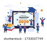 virtual online graduation...   Shutterstock .eps vector #1733037749